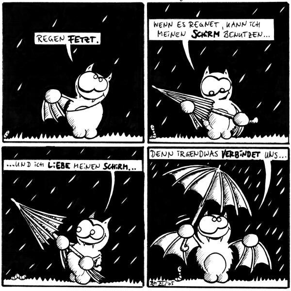 Fred: Regen fetzt.  Fred: Wenn es regnet, kann ich meinen Schirm benutzen ...  Fred: ... und ich liebe meinen Schirm ...  Fred: ... denn irgendwas verbindet uns ...  [[Fred spannt die Flügel auf und sieht selber aus wie der Regenschirm.]]