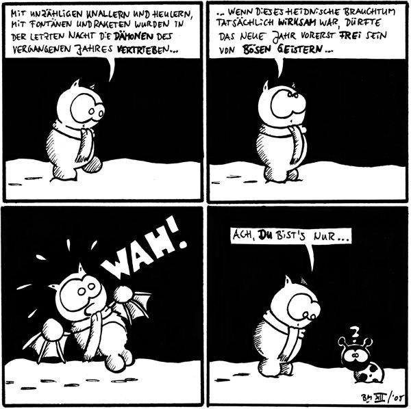 Fred: Mit unzähligen Knallern und Heulern, mit Fontänen und Raketen wurden in der letzten Nacht die Dämonen des vergangenen Jahres vertrieben...  Fred: wenn dieses heidnische Brauchtum tatsächlich wirksam  war, dürfte das neue Jahr vorerst frei sein von bösen Geistern...  Fred: WAH!  Fred: Ach, du bist's nur... Käfer: ?