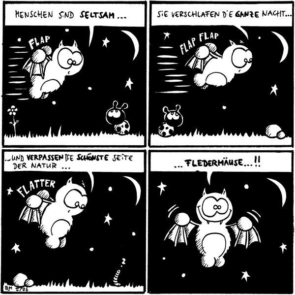 [[Fred fliegt erkundend über eine Wiese und an Käfer vorbei]] Fred: Menschen sind seltsam...  Fred: Sie verschlafen die ganze Nacht... [[Flap Flap]]  Fred: ... und verpassen die schönste Seite der Natur ... [[Flatter]] [[ein Wurm schaut aus dem Gras empor]] Wurm: ?   Fred: ... Fledermäuse... !! [[nur noch Himmel im Bild]]