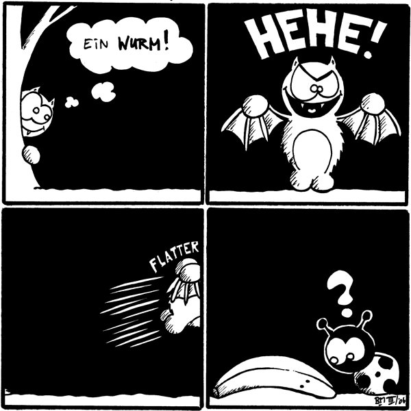 Fred: (denkt) ein Wurm!  Fred: HEHE!   [[Fred fliegt aus dem Bild]] *Flatter*  Käfer: ? [[Käfer schaut frangend eine am Boden liegende Banane an]]