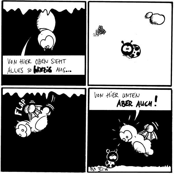 Fred: von hier oben sieht alles so winzig aus [[Fred an Höhlendecke hängend]] Käfer Fred [[fliegt los: flap]] Fred: von hier unten aber auch [[landet bei Käfer]