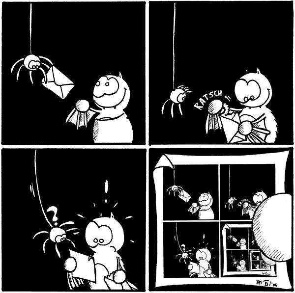 [[Fred bekommt von der Spinne einen Brief]]  [[Fred reißt den Brief auf]]  [[Fred schaut ungläubig auf den Brief]]  [[der Brief enthält den aktuellen Comic]]  {{alt-text: Mal wieder Post }}