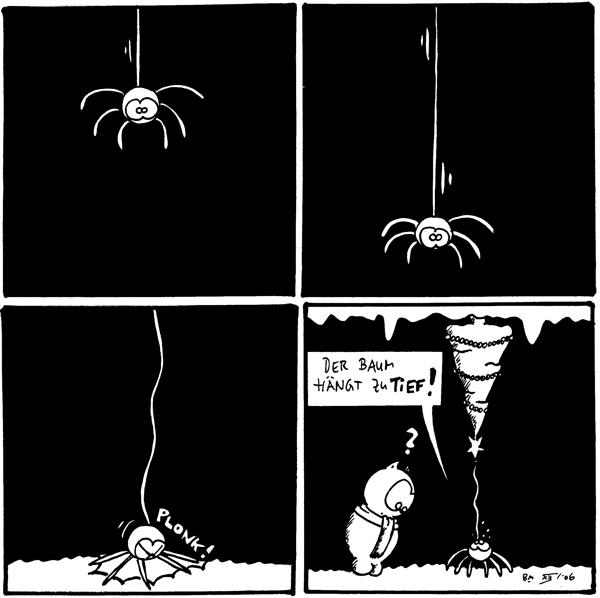 [[Spinne hängt im Bild]]  [[Spinner hängt am unteren Rand des Bildes]]  [[Spinne landet unsanft auf dem Boden]] *plonk!*  Spinne: Der Baum hängt zu tief! Fred: ?