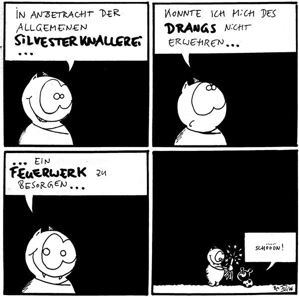 Fred: In Anbetracht der allgemeinen Silvesterknallerei...  Fred: konnte ich mich des Drangs nicht erwehren...  Fred: ...ein Feuerwerk zu besorgen...  Käfer: Schööön! [[Fred hat eine Wunderkerze angezündet]]