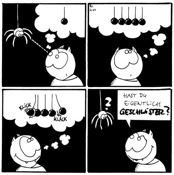 [[Fred visiert Spinne an die am Faden baumelt]] Fred:[[Gedankenfeld]]eine Kugel die am Faden hängt  Fred:[[Gedankenfeld]] 5 kugeln die am Faden hängen \