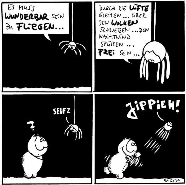 Spinne: Es muss wunderbar sein zu fliegen...  Spinne: Durch die Lüfte gleiten... über den Wolken schweben... den Nachtwind spüren... frei sein...  Fred: ? Spinne: *seufz*  Spinne: Jippieh!