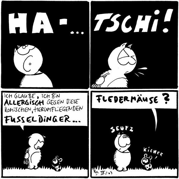 Fred: *HA-...*  Fred: *TSCHI!*  Fred: Ich glaube, ich bin allergisch gegen diese komischen, herumfliegenden Fusseldinger...  Käfer: Fledermäuse? Fred: *seufz* Käfer: *kicher*