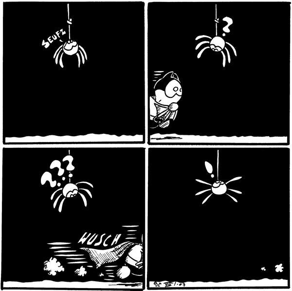 [[Spinne hängt von der Decke mit einem Knoten in ihrem Faden]]  [[Batfred kommt angerannt]] Spinne: ?  [[Batfred rennt durchs Bild]] Batfred: *wusch* Spinne: ??? [[Die Fragezeichen verdecken den Faden]]  [[Spinne schaut auf den Faden ohne Knoten]] Spinne: !