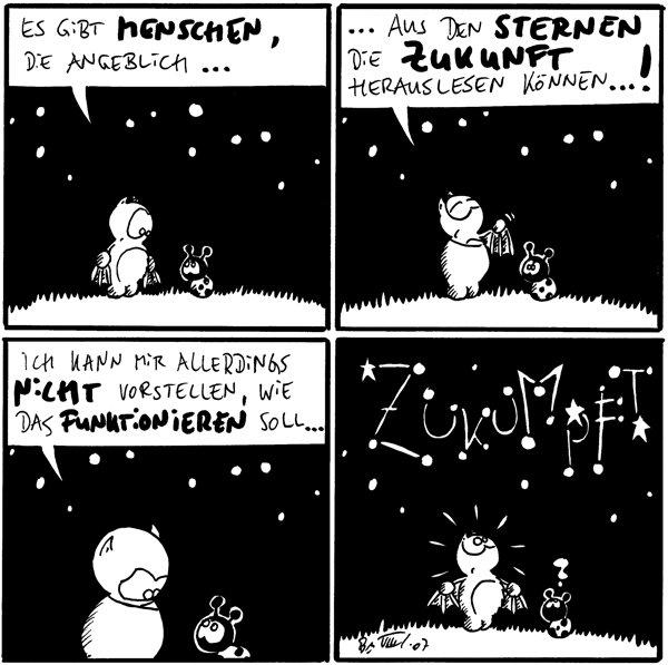 Fred: Es gibt Menschen, die angeblich...  Fred: ...aus den Sternen die Zukunft herauslesen können...!  Fred: Ich kann mir allerdings nicht vorstellen, wie das funktionieren soll...  Käfer: ? [[Die Sterne bilden das Wort: Zukumpft]]