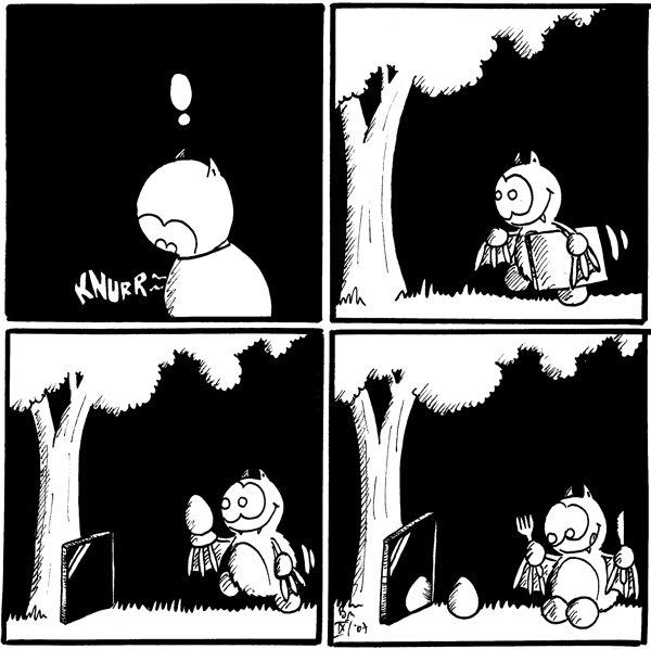 Freds Magen: Knurr Fred: !  [[Fred trägt einen Spiegel zum Baum]]  [[Spiegel lehnt am Baum, Fred trägt ein Ei dabei]]  [[Ei spiegelt sich im Spiegel und Fred hat Messer und Gabel gezückt]]