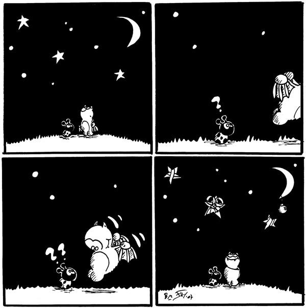 [[Fred und Käfer schauen in die Sterne]]  Käfer: ? [[Fred flattert davon]]  Käfer: ?? [[Fred flattert wieder zu Käfer]]  [[Fred und Käfer schauen in die mit Geschenkband eingewickelten Sterne und zum mit einer Weihnachtskugel behangen Mond]]
