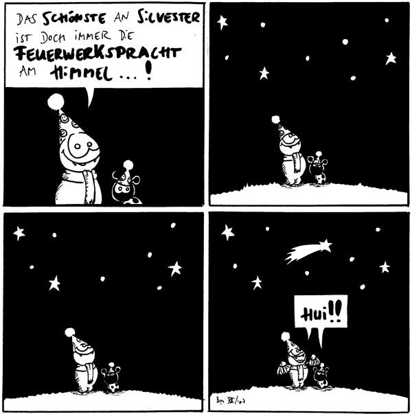 Fred: Das Schönste an Silvester ist doch immer die Feuerwerkspracht am Himmel...!  [[Fred und Käfer schauen in den Sternenhimmel, wo kein Feuerwerk zu sehen ist.]]  [[Fred und Käfer schauen in den Sternenhimmel, wo kein Feuerwerk zu sehen ist.]]  [[Eine Sternschnuppe fliegt vorbei.]] Fred und Käfer: Hui!!