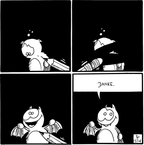 [[Fred guckt traurig, wird noch gezeichnet]]  [[Fred wird wegradiert]]  [[wird neu gezeichnet, mit lachendem Gesicht]]  Fred: Danke.