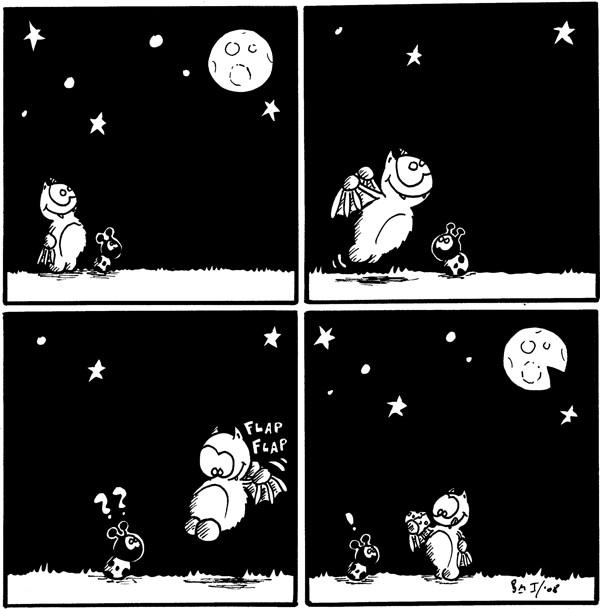 [[Fred und Käfer schauen den Vollmond an, der Mond erinnert an einen löchrigen Käse]]  [[Fred fliegt los]]  [[Fred landet wieder]] *flap flap* Käfer: ??  Käfer: ! [[Fred hält ein Stück \
