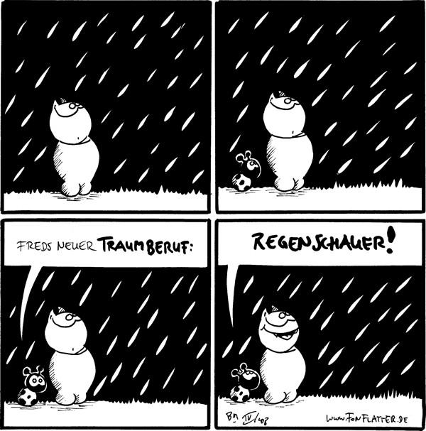 [[Fred schaut Regen an]]  [[Käfer kommt hinzu]]  Käfer: Freds neuer Traumberuf:  Käfer: Regenschauer!! [[Fred lächelt]]
