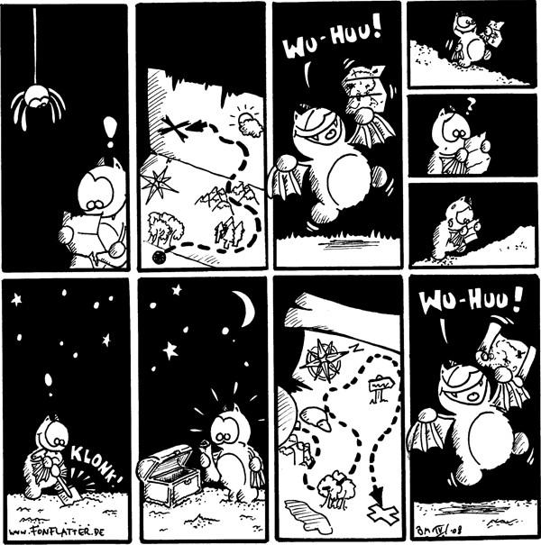 Spinne [[hängt am Faden]] Fred.\
