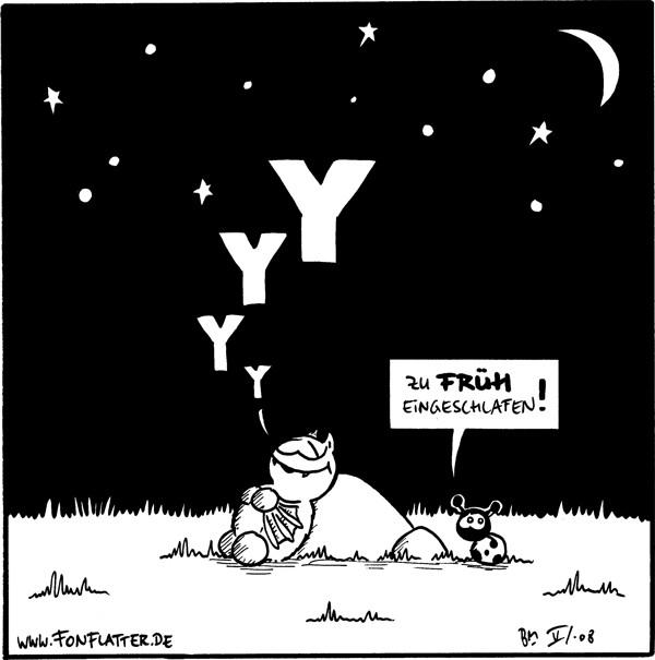 Fred: *yyyy* Käfer: Zu früh eingeschlafen! [[Fred lehnt am Stein und schläft]]