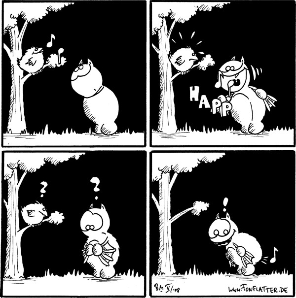 [[Fred steht vor einem kleinen Baum auf dem ein singender Vogel sitzt - Noten]] Fred: happ [[fred schnappt sich die Noten mit dem Mund]] Fred und Vogel:?? Fred: ! [Noten kommt hinten wieder raus - Pups...]