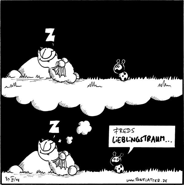 [[Fred schläft auf seinem Filosofierstein und Käfer steht vor ihm; er träumt die gleiche Szene]] Fred: Z Käfer: Freds Lieblingstraum...