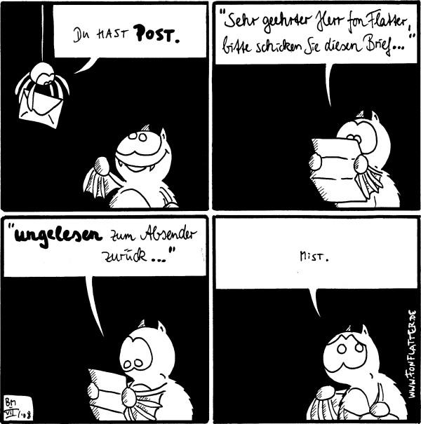 [[Spinne kommt mit einem Brief]]: Du hast Post. Fred freut sich  Fred: \
