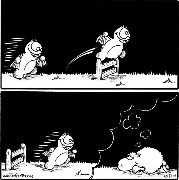 [[Fred läuft ein Gatter zu und springt darüber]]  [[Fred landet, im Traum eines schlafendes Schafs]]