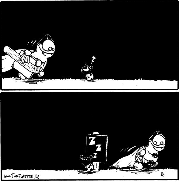 [[Batfred kommt mit einem Schild angerannt]] Käfer:\