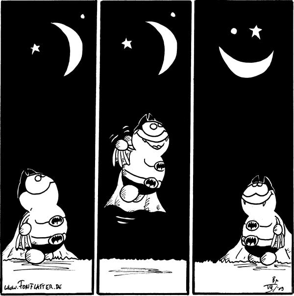 Batfred: [[sieht in den Himmel und erkennt einen Stern, Halbmond und einen Lichtpunkt, springt hoch und macht daraus ein Smiley]]