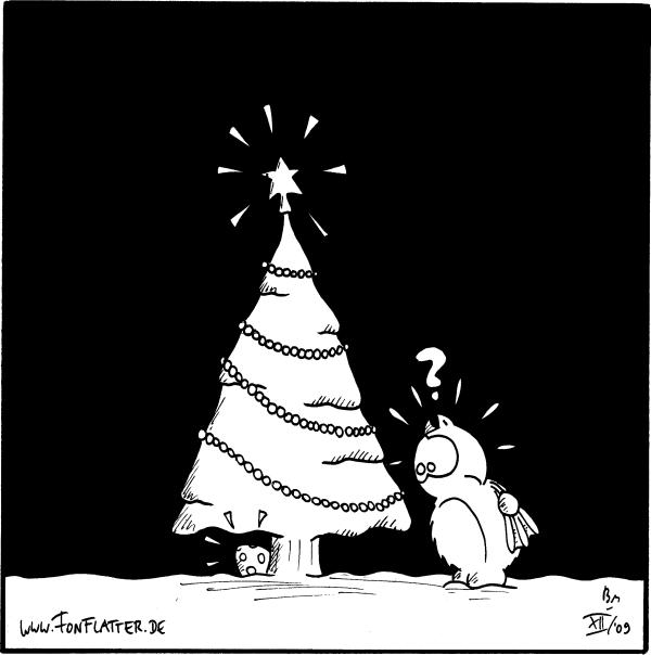 [[Fred steht vor dem Weihnachtsbaum, unter dem ein Osterei liegt]] Fred:?