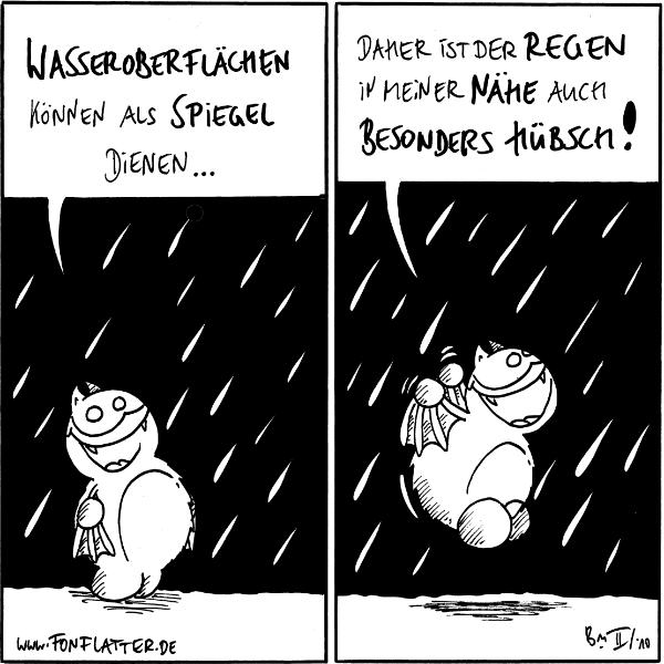 Fred: Wasseroberflächen können als Spiegel dienen... [[steht im Regen]]  Fred: Daher ist der Regen in meiner Nähe auch besonders hübsch!