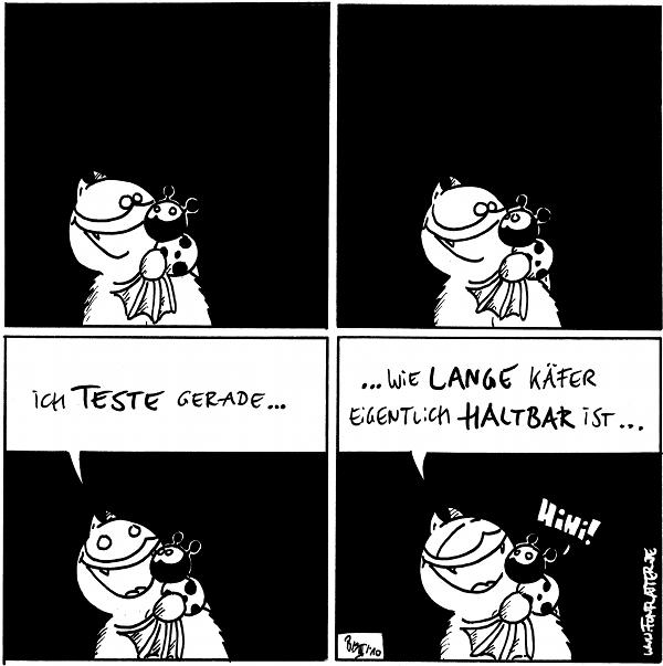 [[Fred mit Käfer auf dem Arm]]  Fred: Ich teste gerade...  Fred:...wie lange Käfer eigentlich haltbar ist... Käfer: Hihi!