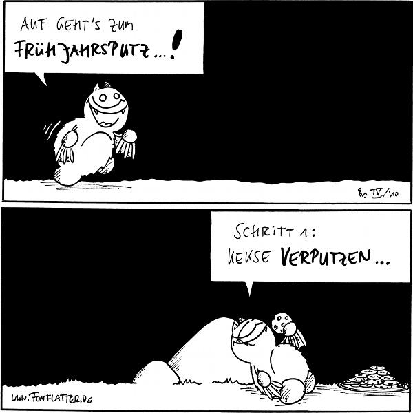 Fred: Auf geht's zum Frühjahrsputz...!  Fred: Schritt 1: Kekse verputzen... [[Lehnt an den Stein, mit einem Haufen Kekse]]