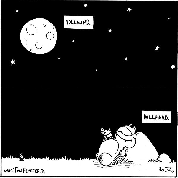 [[Fred an den Stein gelehnt, mit einem angebissenen Keks in der Hand, am kauen, über ihm der Sternenhimmel mit dem Vollmond. Kommentar am Mond: Vollmond. Kommentar bei Fred: Vollmund.]]  {{alt-text:Man beachte die ansatzweise Ähnlichkeit zwischen Keks und Mond.}}