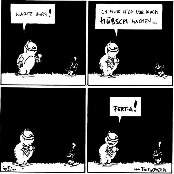 Fred: Warte kurz! Käfer: ?  Fred: Ich muss nich nur noch hübsch machen...  Käfer: ?  Fred: Fertig! Käfer: !  {{alt-text: Ulsnip patufi züs Trekliwammp!}}
