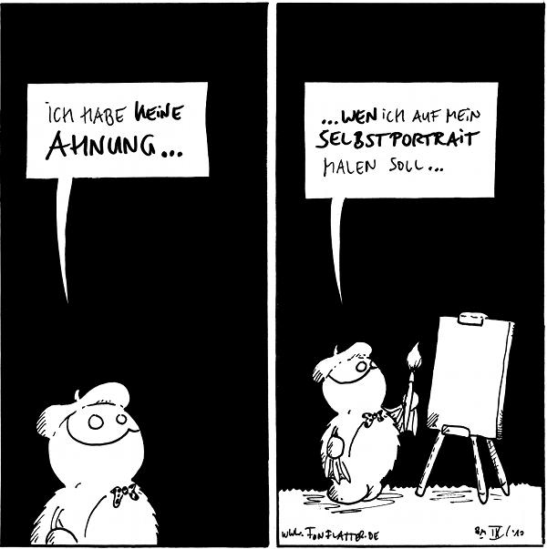 Fred: Ich habe keine Ahnung ...  Fred: ... wen ich auf mein Selbstportrait malen soll ...  {{alt-text: Elefanten vielleicht?}}