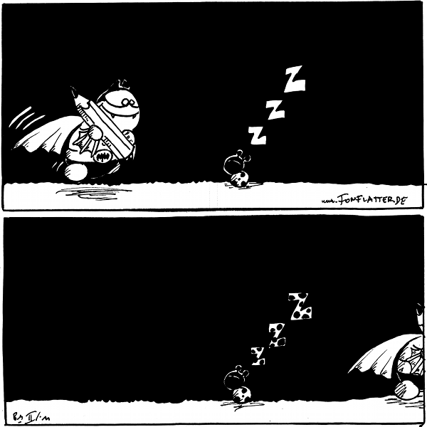 """Käfer (schläft): zZZ [[Batfred kommt mit einem Stift ins Bild gerannt]]  Käfer (schläft): zZZ [[Die """"Z"""" sind gepunktet, Batfred verlässt das Bild]]  {{alt-text: Punktsieg für Käfer.}}"""