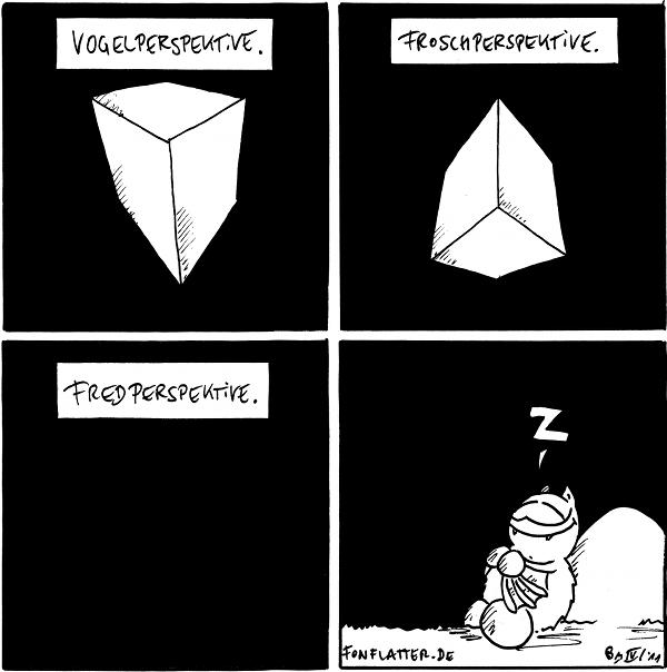 Kasten: Vogelperspektive [[man sieht ein Block von oben]]  Kasten: Froschperspektive [[man sieht den Block von unten]]  Kasten: Fredperspektive [[schwarzes Bild]]  Fred: Z [[Fred schäft beim Philosophen-Stein]]  {{Woah! 3D!}}