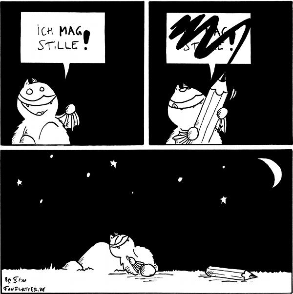 Fred: Ich mag Stille!  [[Fred streicht den Text in der Sprechblase durch]]  [[Fred schläft seelig auf dem Stein]]  {{Psst.}}