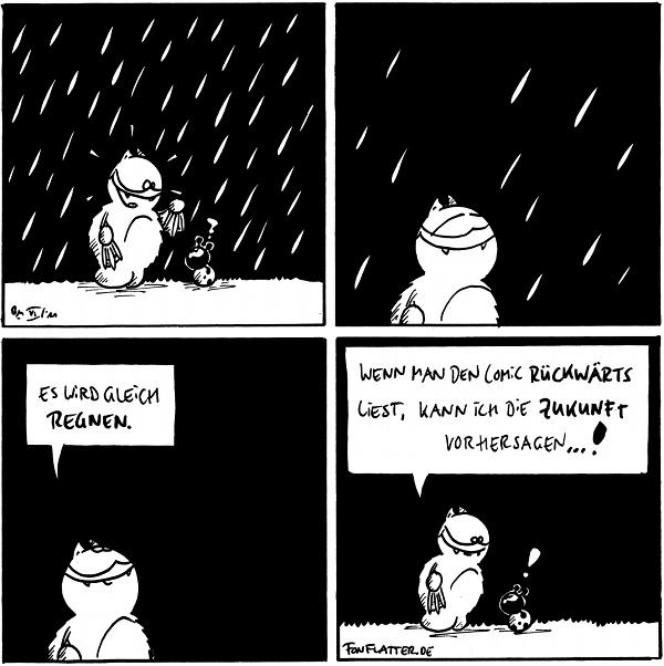 [[Es regnet, Fred schaut Käfer an]] Käfer: ?  [[Es hört auf zu regnen]]  Fred: Es wird gleich regnen.  Fred: Wenn man den Comic rückwärts liest, kann ich die Zukunft vorhersagen...! Käfer: !  {{!tztef negeR}}