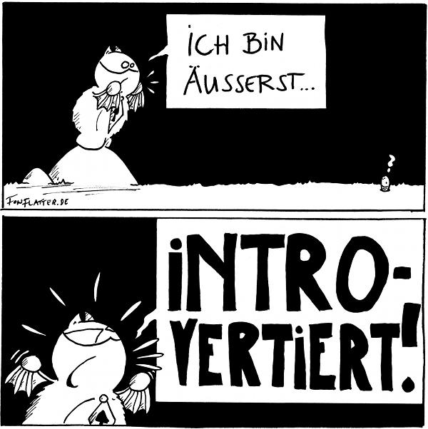 Fred [[steht auf dem Stein]]: Ich bin äusserst... Wurm: ?  Fred brüllt: INTROVERTIERT!  {{UND ICH BIN EHER DER RUHIGE TYP!!!}}