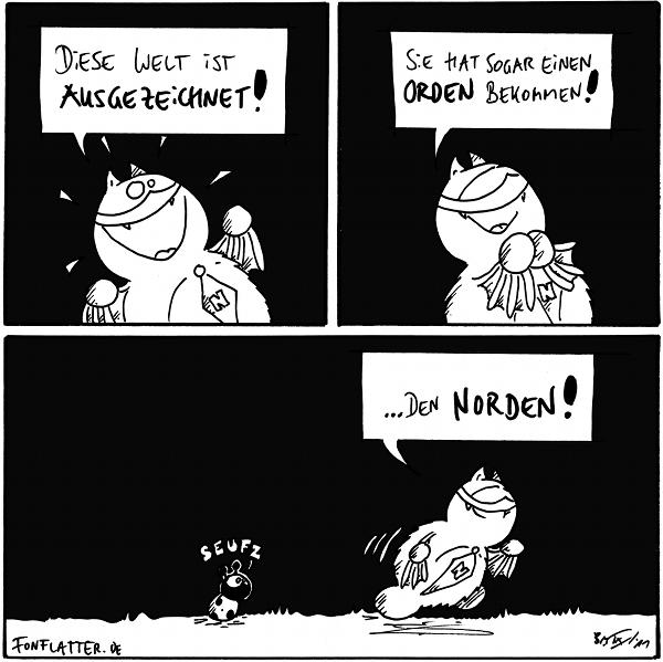 Fred (strahlend): Diese Welt ist ausgezeichnet! Fred: Sie hat sogar einen Orden bekommen! Fred: … den Norden!  Käfer: seufz  {{Ausgezeichnet — ausserdem ist sie angefüllt mit Fj-Orden.}}