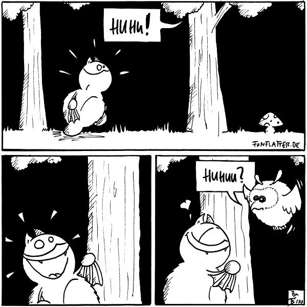 """Panel 1: Fred im Wald. Eine Stimme aus dem Baum """"Huhu!"""". Fred erschreckt... Panel 2: Fred freudestrahlend Panel 3: eine Eule kommt aus dem Baum geflattert: Huhuu?"""" Fred mit Herz  {{Huhu --  eine Nugateule!}}"""