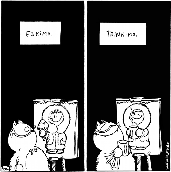 """Panel 1: Professor Fred vor seiner Staffelei (Bild: Eskimo mit Eiswaffel) """"ESKIMO"""" Panel 2: Professor Fred vor seiner Staffelei mit einer Tasse in der Hand (Bild: Eskimo mit Tassel) """"TRINKIMO""""  {{Eis -- Eiskimo und Heißkimo}}"""