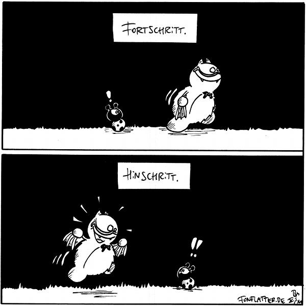 """Panel 1: """"Fortschritt"""": Professor-Fred läuft nach rechts von Käfer weg. Panel 2: """"Hinschritt"""": Professor-Fred läuft von links auf Käfer zu.  {{Fortschritt -- Fred ist anscheinend hin und weg.}}"""