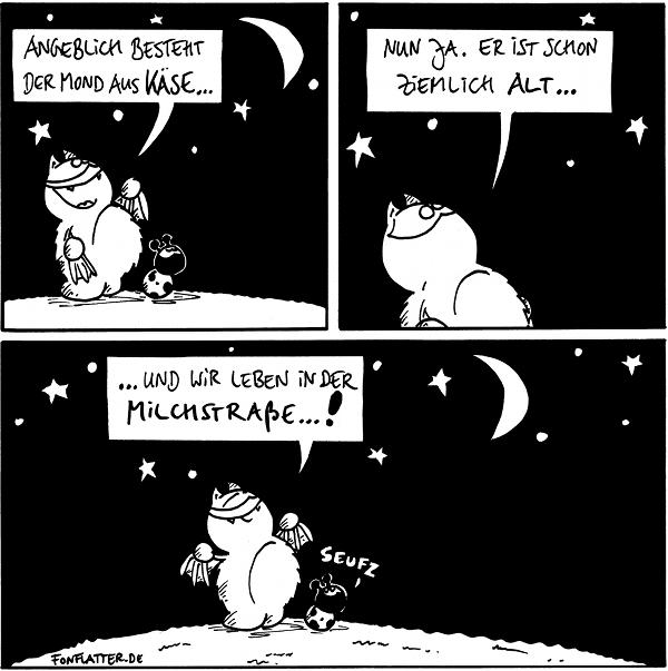 [[Fred und Käfer betrachten den Sternenhimmel mit dem Mond.]] Fred: Angeblich besteht der Mond aus Käse...  Fred: Nun ja. Er ist schon ziemlich alt...  Fred: ...und wir leben in der Milchstraße...! Käfer: Seufz  {{Und damit Mond und Milchstraße sich noch eine Weile halten, ist es im Weltraum so kalt.}}
