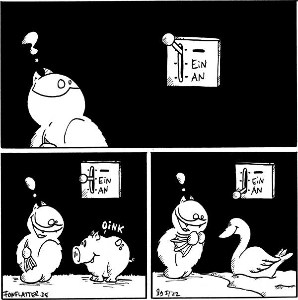 """[[Fred steht vor einem Schalter mit den Stellungen """"-"""" (ausgewählt), """"ein"""", """"an"""".]] Fred: ?  [[Der Schalter steht auf """"ein"""". Vor Fred steht ein Schwein.]] Fred: !  [[Der Schalter steht auf """"an"""". Vor Fred befindet sich ein Schwan.]] Fred: !  {{Die Linie ist gar keine, sondern ein unsauber gekrakeltes 'achsinn'.}}"""
