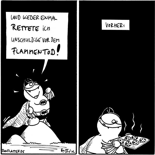 Batfred [[steht heroisch auf dem Filosofiestein]]: Und wieder einmal rettete ich Unschuldige vor dem Flammentod!  [[Vorher: Batfred mit einem Blech voller frisch gebackener, dampfender Kekse]]  {{Das heiße Backblech ungeschützt anfassen - das kann nur Batfred!}}