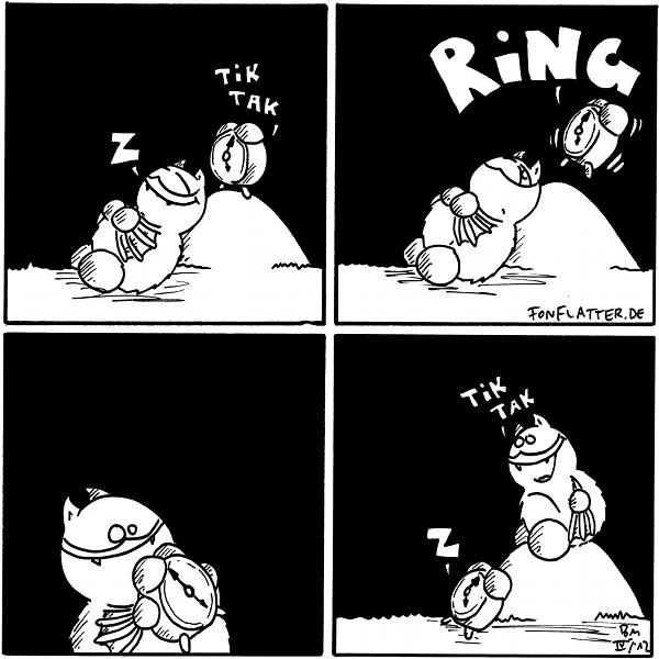 Fred [schläft am Filosofiestein, auf dem steht ein Wecker]]: Z Wecker: Tik Tak  Wecker: RING Fred [[wacht auf]]  Fred [[nimmt Wecker in die Hand]]  Wecker[liegt am Filosofiestein, Fred sitzt auf dem Stein]]: Z Fred: Tik Tak  {{Bin gespannt, woher Fred den Ring herbekommt.}}