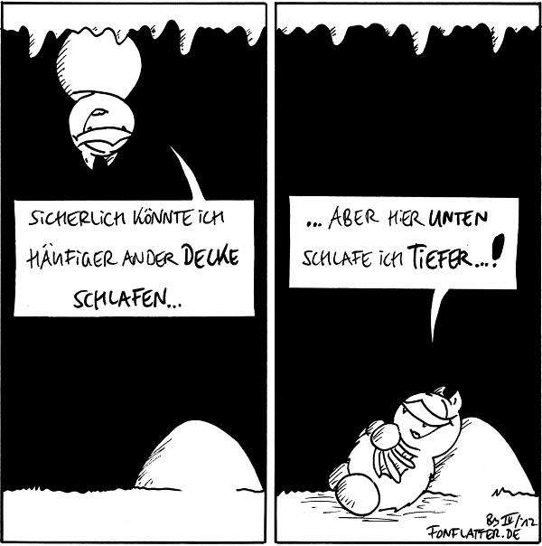 Fred [[hängt an der Höhlendecke über dem Stein]]: Sicherlich könnte ich häufiger an der Decke schlafen...  Fred [[liegt am Stein]]: ...aber hier unten schlafe ich tiefer...!  {{Und auf dem Stein schläft er besonders fest.}}