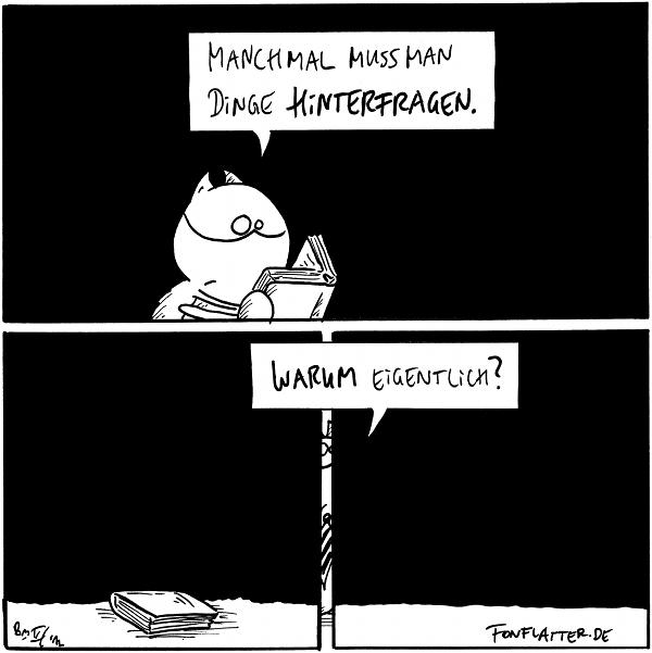 Fred [[schaut fragend in ein offenes Buch]]: Manchmal muss man Dinge hinterfragen.  Fred [[im Hintergrund zwischen zwei Paneln nur zu erahnen]]: Warum eigentlich?  {{Am besten, man hinterfragt noch das Hinterfragen des Hinterfragens. Und so weiter.}}