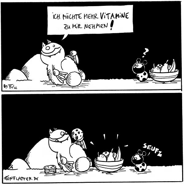 Fred [[liegt am Filosofiestein]]: Ich möchte mehr Vitamine zu mir nehmen! Käfer [[sitzt neben einer Schale mit Obst am rechten Bildrand]]: ?  Fred [[hat die Obstschale vor sich stehen, ißt Kekse]] Käfer: seufz  {{Fred braucht keine Kamera für die Nahrungsaufnahme.}}